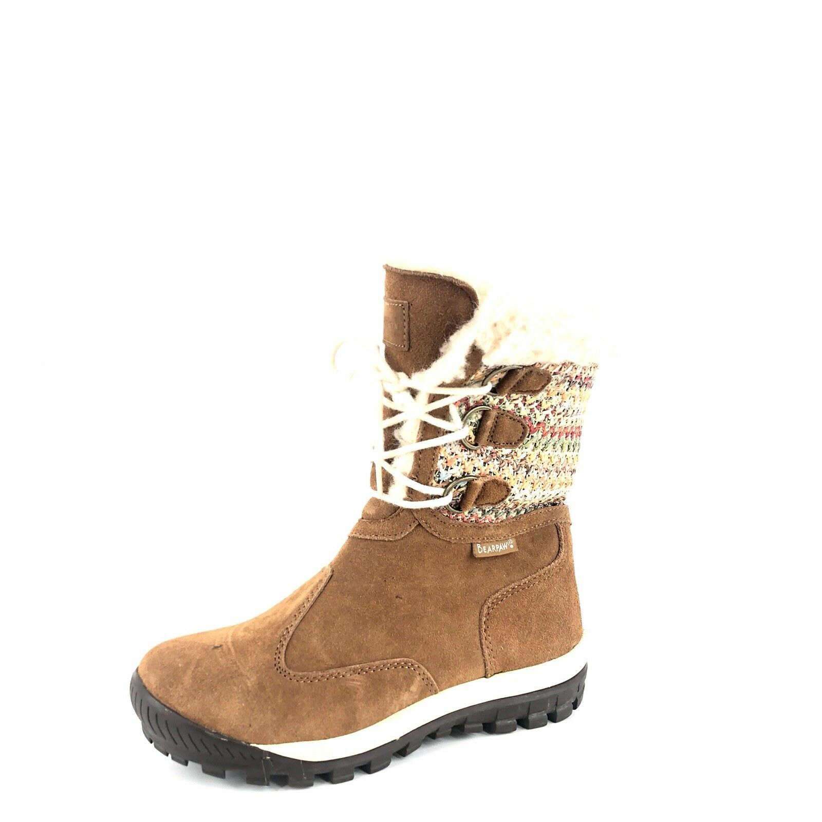 BearPaw  Ophelia  Hickory Suede Suede Suede Woven Textile Sheepskin Boots Women's Size 7 M  f93aeb