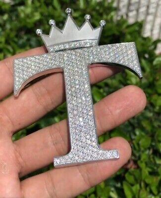Details about  /1.36 ct Round Sim Diamond Men/'s Custom Initial E Letter Crown Pendant 925 Silver