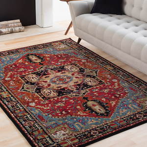 Traditional Oriental Tribal Lodge Red Blue Area Rug Free Shipping