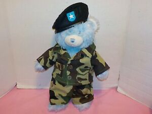16-034-BABW-Build-A-Bear-Blue-With-Army-Camo-Outfit-Black-Beret-Shirt-amp-Pants