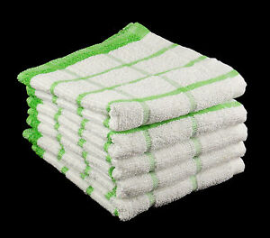 Pack-of-10-LIME-GREEN-and-WHITE-100-Cotton-Kitchen-Tea-Towels-Size-33cm-x-58cm
