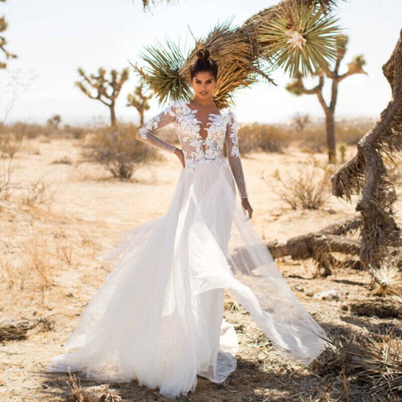 #2 Weiß - Spitze Sommerkleid Langarm Maxikleid