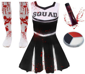 Noir Enfants filles pom-pom Girl Fancy Dress Uniform High School Costume pompons