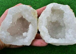 Quartz Geodes 15-18cm Natural White Whole-Matching-Pair Moroccan Quartz Healing✔