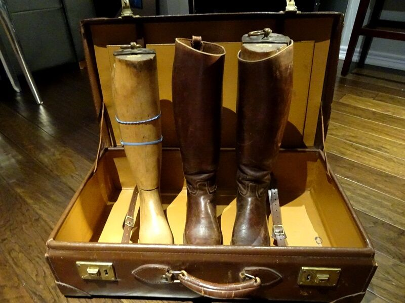 Art Deco RIDING BOOTS 1920 English +FORMS +LEATHER SUITCASE equestrian  GENTLEMAN  free and fast delivery available