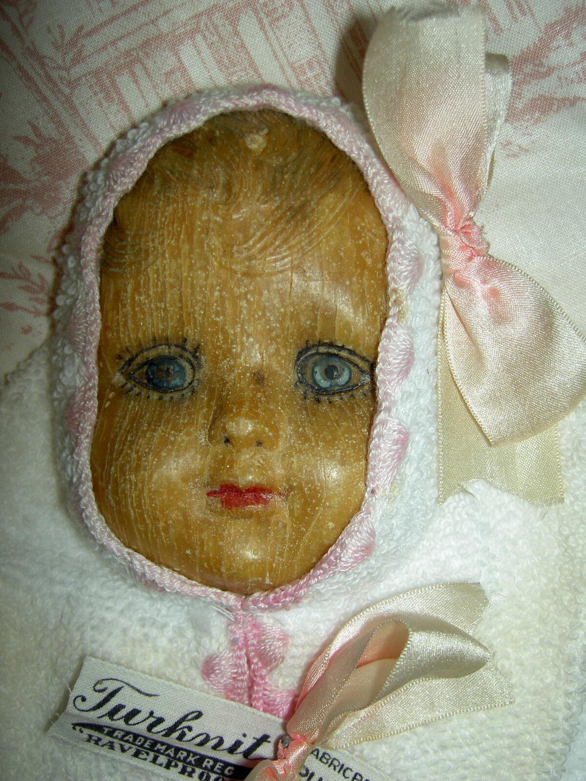 Extremamujerte raro, 1907 etiquetada, menta en caja Muñeca De Jabón Antiguo Cara de Bebé Cabeza & PAÑO DE LAVADO