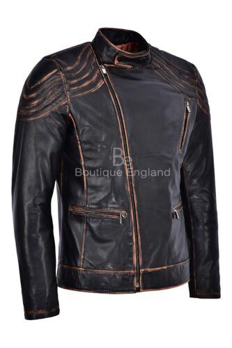 Vintage Men/'s Leather Jacket Black Rust CLASSIC BIKER STYLE REAL LEATHER NV-100