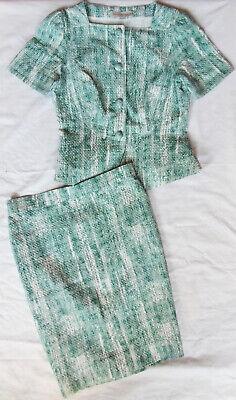 .purificacion Garcia 100%autentico Traje Chaqueta. Blanco Verde. Talla 42 Elegante E Grazioso
