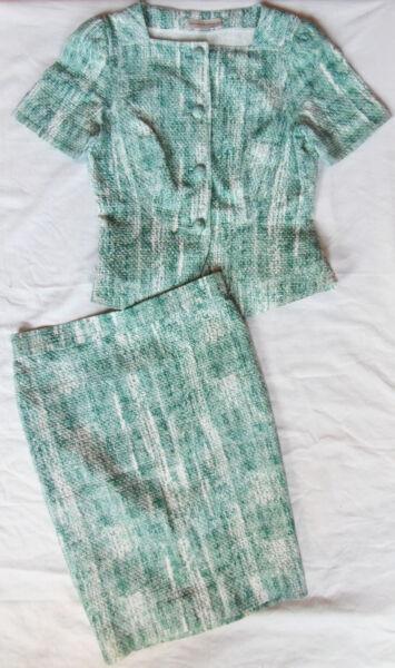 .purificacion Garcia 100%autentico Traje Chaqueta. Blanco Verde. Talla 42 Top Angurie