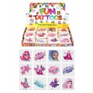 Girls-SUPER-HERO-Temporary-Tattoos-Children-039-s-Birthday-Loot-Party-Bag-Filler