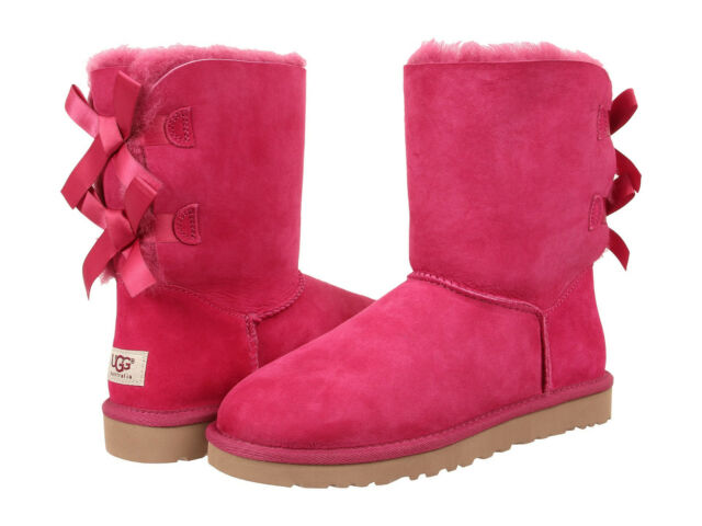 fff050e0899 UGG Australia Womens Bailey Bow BOOTS Twinface Sheepskin Red Violet 6