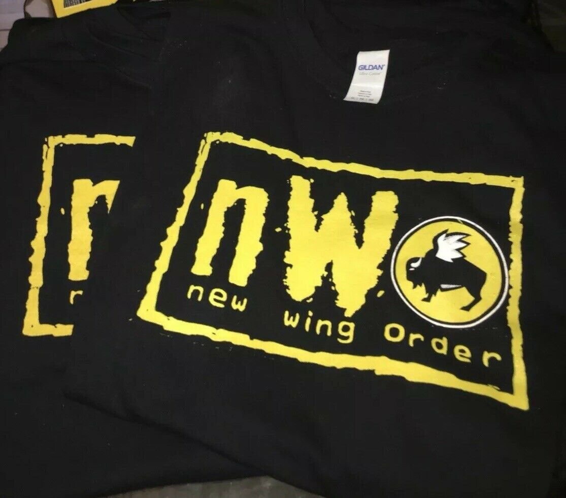 WWE NWO NEW WORLD ORDER BUFFALO WILD WINGS SHIRT SIZE XXL ALL IN STARRCAST