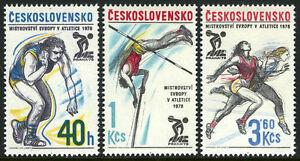 Tchécoslovaquie 2168-2170, MNH 5th Européenne Athlétique Championnats, Emblème,