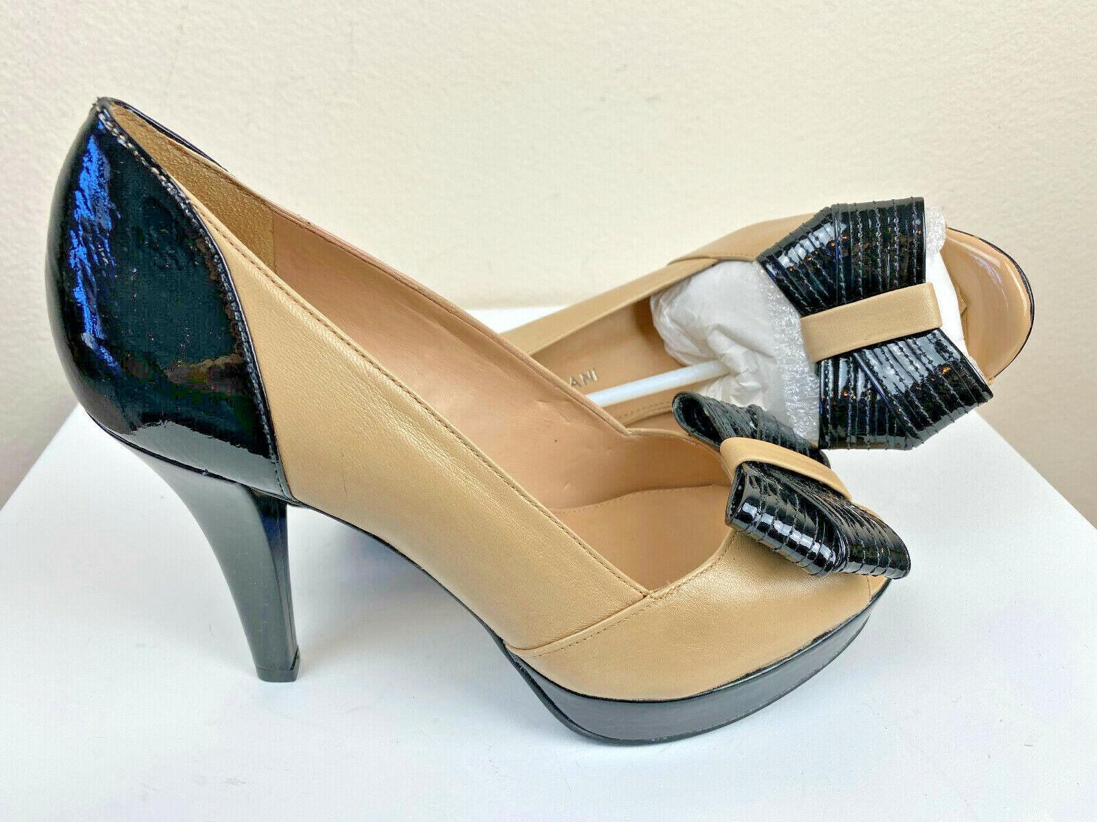 Antonio Melani Platform Pump Peep Toe 7M Nude Leather Stiletto Bow Top
