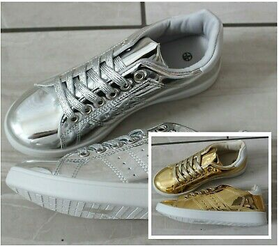 WOMENS LADIES GOLD SILVER LACE UP