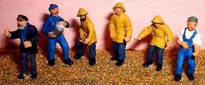 6-Fishermen-Trawler-men-F206-UNPAINTED-OO-Scale-Langley-Model-Kit-People-Figures