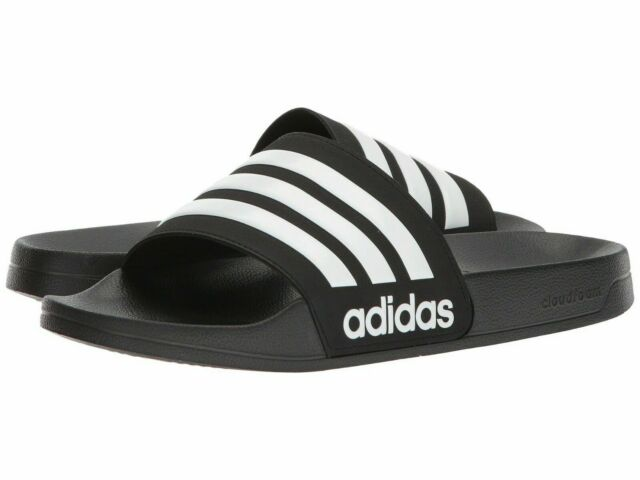 Men Adidas NEO CF Adilette Slide Sandal AQ1701 Black - White - Core Black New
