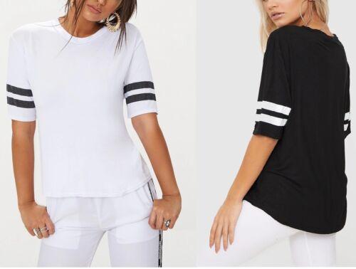 Nouveau Femme Basic Sport à rayures à manches T Shirt