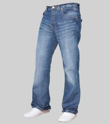Mens Simply Jeans New Bootcut Wide Leg Vintage Flared Designer Blue Denim Jeans