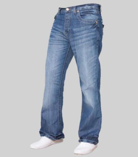 Bleu Homme Designer Boot Cut Jeans Évasé Jambe Large Denim Cadeau Entièrement neuf dans sa boîte Bouton