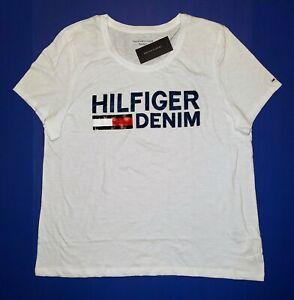 WOMEN/'S TOMMY HILFIGER V-NECK T-SHIRT EMBROIDERED HILFIGER SPELL OUT SCRIPT 2XL