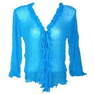 Boléro Gilet Femme Manches Longues Cardigan Cache Cœur bleu turquoise