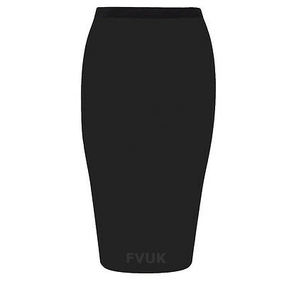WOMENS PLAIN OFFICE WORK PENCIL LADIES STRETCH JERSEY BODYCON MINI MIDI SKIRT
