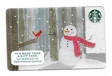 2015 Starbucks Card ~ Christmas ~ Snowman, Cardinal, Forest