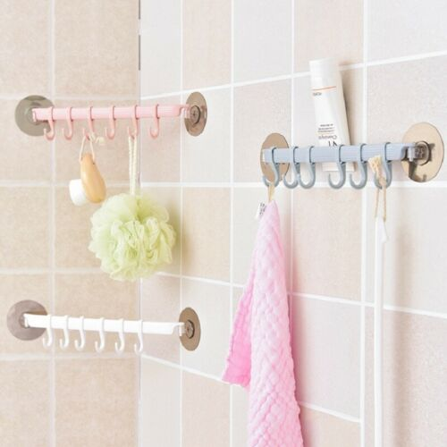 PVC 6 Hook Suction Cup Towel Rack Holder Bathroom Kitchen Clothes Sucker Hanger