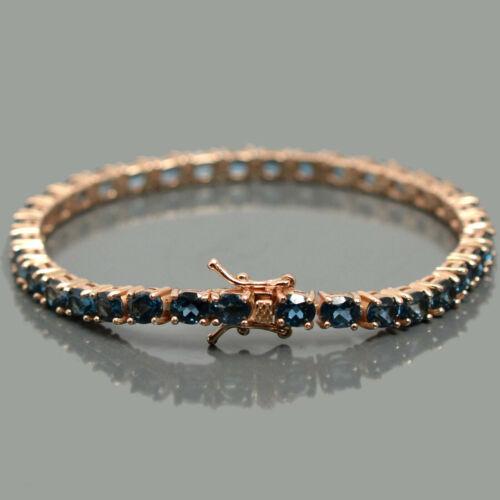 Details about  /Natural London Blue Topaz Gem 14K Rose Gold Plating 925 Silver Tennis Bracelet
