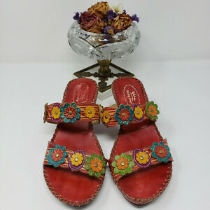 Spring Step Ambrosiada Red Multi Floral Slip-On Kitten Heel Leather Sandal 8 /38