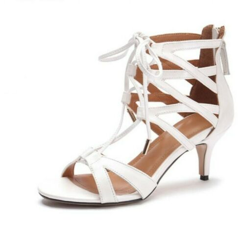 New Womens Ladies Lace Up High Heels Peep Toe Ankle Strappy Cut Out Sandals Size