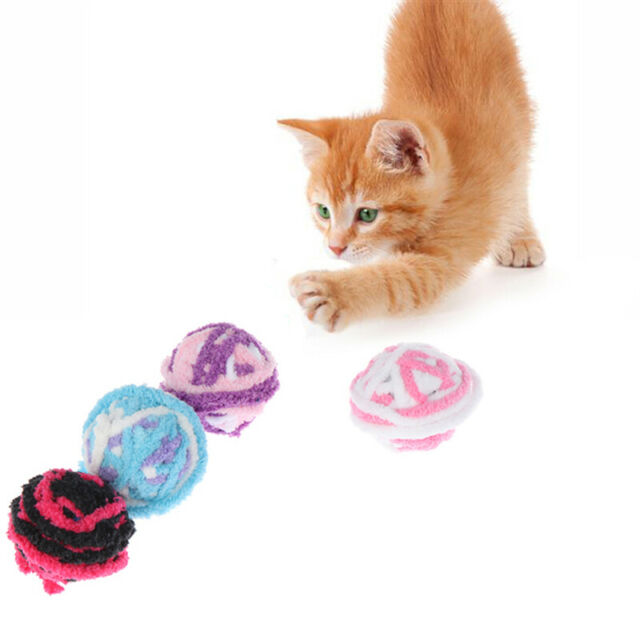 Long Tail Fuzzy Cats Wool Ball Toy Colorful Rope Ball Pet Cat Toys Teaser gt