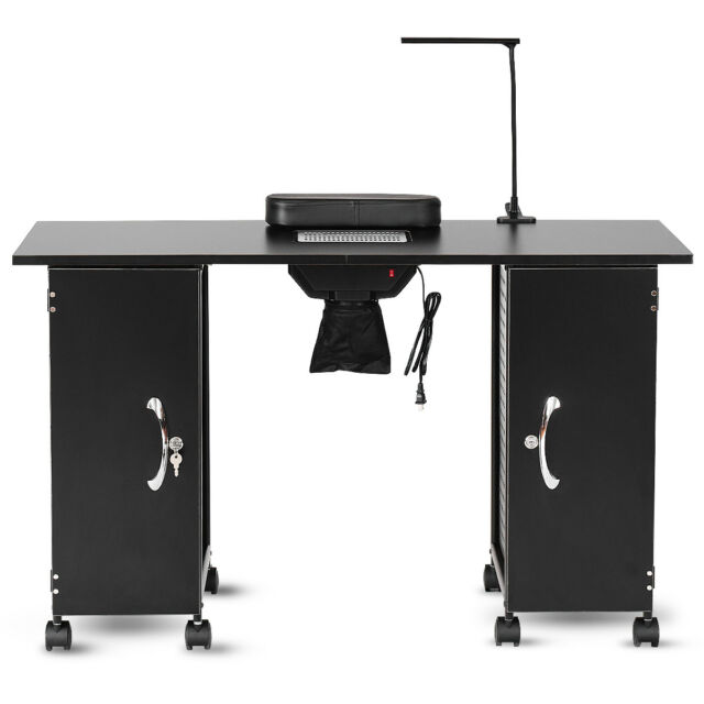 delightful Black Nail Table Part - 8: Manicure Nail Table Station Black Steel Frame Beauty Spa Salon Equipment  Drawer
