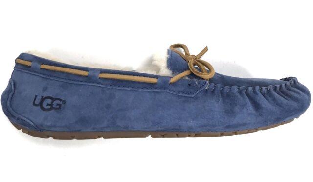 e5bfa1a3776 UGG Dakota Dark Denim Suede Sheepskin Moccasins Women's Slippers Size US 6
