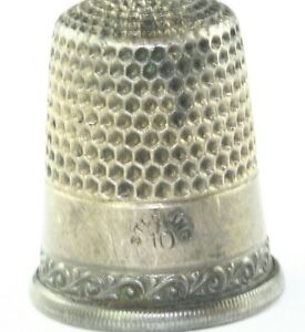 VICTORIAN ANTIQUE STERLIG SILVER WAVE PATTERN THIMBLE