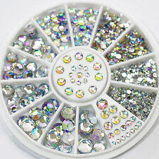 5 Size Mixed 3d Glitter Rhinestone Nail Art Decor Lovely DIY Accessories Wheel
