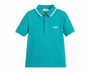 Sale-Hugo-Boss-Kids-J25B99-691-Short-Sleeves-Cotton-Boys-Polo-Shirt-Green