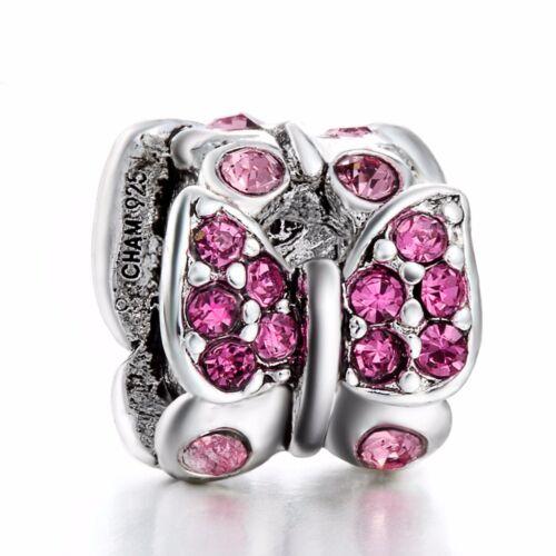 European Flowers Charms Bead Pendant Fit Sterling 925 Silver Bracelets Necklace