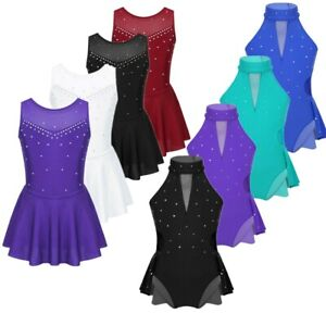 Figure-Ice-Skating-Dress-Kid-Girls-Sparkly-Rhinestone-Ballet-Dance-Dress-Leotard