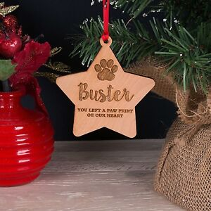 Personalised-Wooden-Pet-Memorial-Star-Christmas-Tree-Decoration-Bauble-Gift