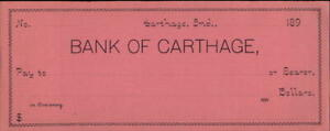 189x Carthage Indiana (IN) Ban of Carthage Blank check. Typed in all that I coul