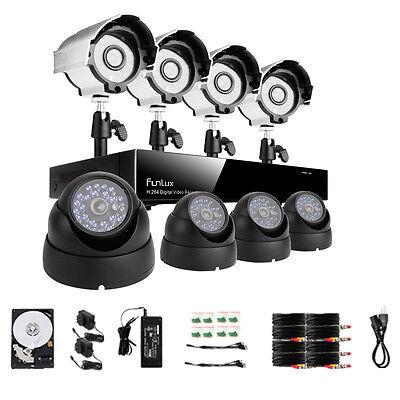 Funlux® 8CH 960H HDMI DVR Outdoor Day Night 600TVL Security Camera System 500GB