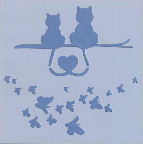 motivo caffè-C012 decoupage Amore Gatti rottami di prenotazione 13x13cm Stencil