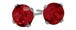 0.70Ct. Genuine 4mm Round Ruby 14K WG Stud Earrings