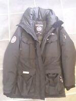 Poplin vinter jakke med pels hætte