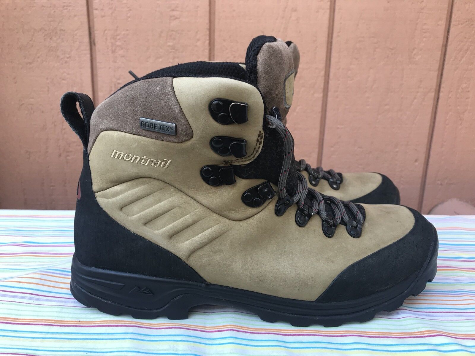 EUC Montrail azul Ridge Gore-Tex Hiking botas mujer US 11 Leather Mountaineering