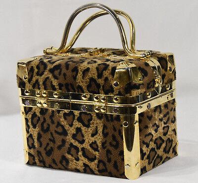 Vintage Comeco Faux Fur Leopard Gold Chrome Metal Small Luggage Box Purse