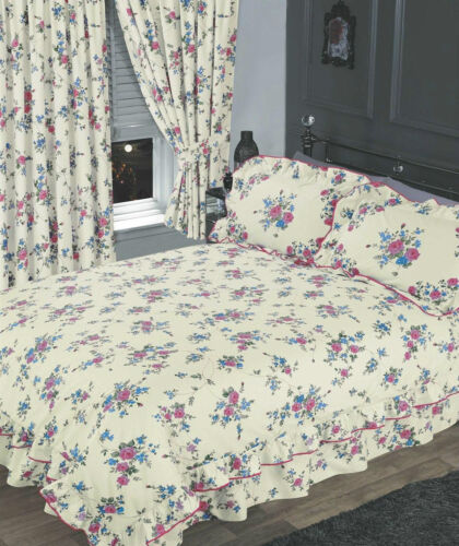 CREAM /& BLUE FLORAL FRILLED DUVET COVER BEAUTIFUL COUNTRY COTTAGE BEDDING