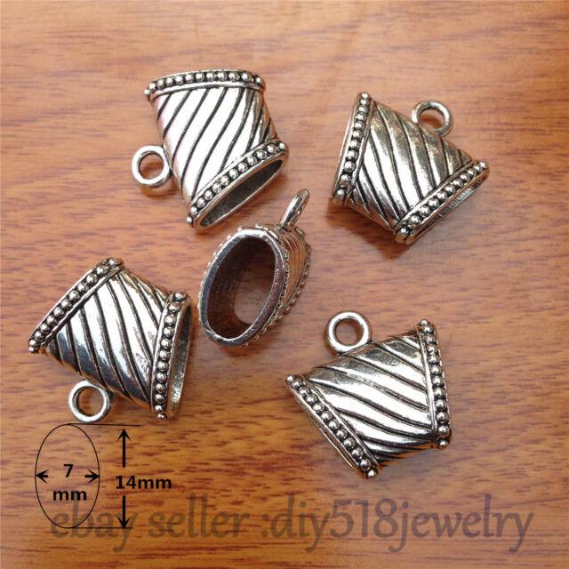 2pcs 23mm Fashion Jewelry Scarf Rings Charm Pendants Accessory Tibet Silver 7558